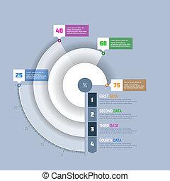 gráfico, mapa, infographi, círculo, torta