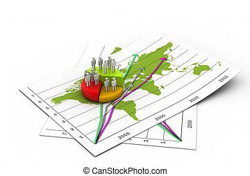 gráfico, mapa, pessoas negócio