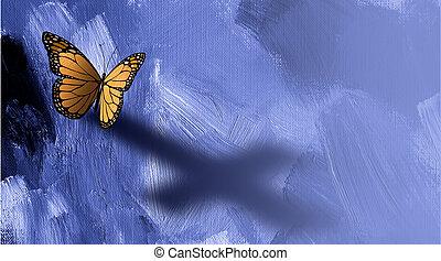 gráfico, mariposa, con, sombra, de, cruz, de, jesús