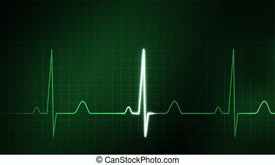 gráfico, monitor, ekg, médico, tema, verde