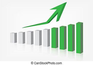 gráfico, mostrando, levantar