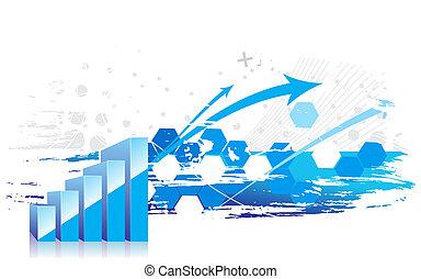 gráfico, mostrando, levantar, lucros, 3d