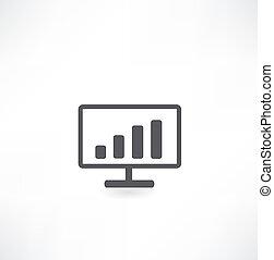 gráfico, mostrando, monitor, negócio