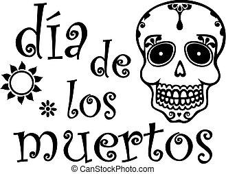gráfico, muerto, español, día