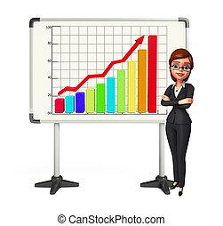 gráfico, mujer, joven, empresa / negocio