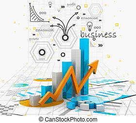 gráfico, negócio