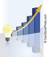 gráfico, negócio, bulbo, luz, idéia