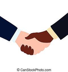gráfico, negócio, negócio, mão, vetorial, abanar, icon., gesto