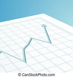 gráfico, negócio, seta