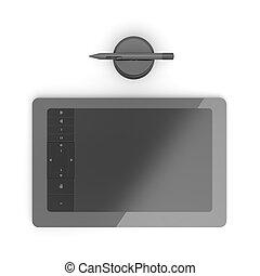 gráfico, negro, tableta