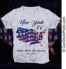 gráfico, newyork, bandera, tee, norteamericano, diseño