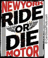 gráfico, newyork, cartel, tee, diseño, motocicleta