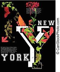 gráfico, newyork, tee, tipografía, diseño de la manera
