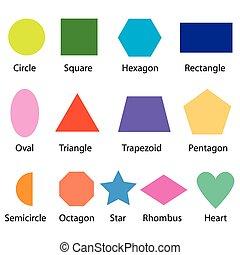 gráfico, niños, formas