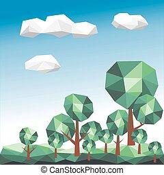 gráfico, nuvens, polígono, árvore, vetorial, verde