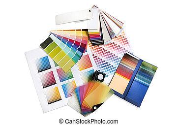 gráfico, o, interiorista, color, muestras