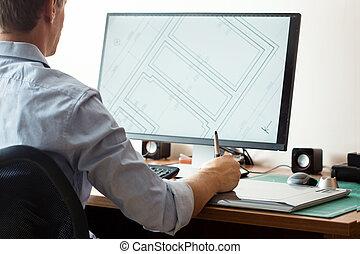 gráfico, oficina, tableta, utilizar, diseñador, computadora...
