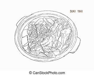 gráfico, olla, sukiyaki, objetos, diseño, objects., dibujo