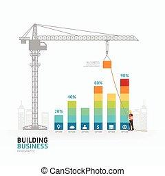 gráfico, ou, teia, modelo, negócio, predios, /, ilustração, layout., vetorial, gráfico, infographic, desenho, sucesso, conceito, design.