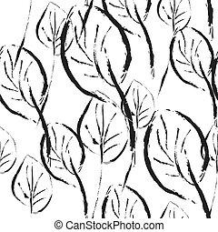 gráfico, padrão, folhas, seamless, pretas, branca