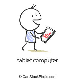 gráfico, pantalla, tableta