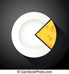 gráfico, pastel, queso, rebanada, forma
