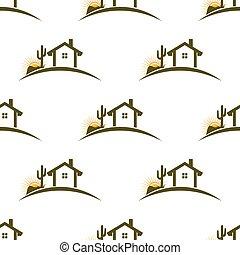 gráfico, patrón, seamless, ilustración, fondo., vector, hogar, desierto