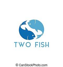 gráfico, peixe, dois, ilustração, vetorial, desenho, modelo