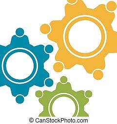 gráfico, pessoas, concept., motion., vetorial, trabalho equipe, engrenagens, desenho