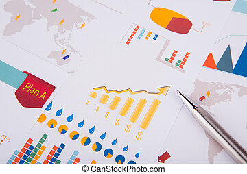 gráfico, pluma, empresa / negocio
