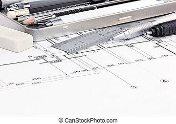 gráfico, plumas, casa, planos, regla, borrador, interior