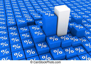 gráfico, porcentaje, el levantarse