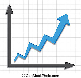 gráfico, progreso, azul, crecimiento, flecha
