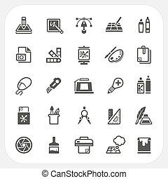 gráfico, projeto fixo, ícones