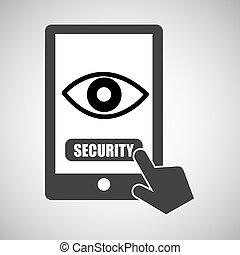 gráfico, proteção olho, vigilância, smartphone, dados
