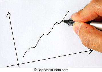 gráfico, proyección, ganancia, dibujo