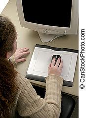 gráfico, ratón, tableta, y