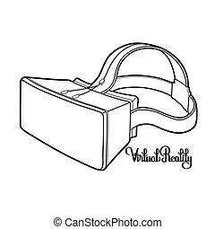 gráfico, realidad, virtual, headset.