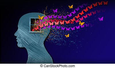 gráfico, resumen, mente, iconic, dreamlike, mariposas,...