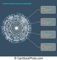 gráfico, resumen, techno, usuario, interface., círculo, ...