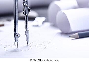 gráfico, rollos, plan, arquitectónico, compás, dibujo, planos