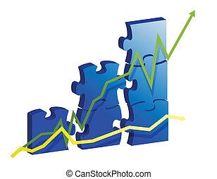 gráfico, rompecabezas, pieces., empresa / negocio, creado