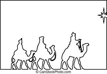 gráfico, sabio, contorno, hombres, tres, ilustración, vector, negro, belén, camellos, siguiente, estrella, retratar, brillar