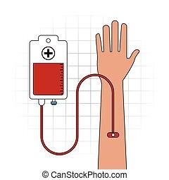 gráfico, saco mão, doação, vetorial, sangue, icon., braço