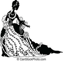 gráfico, silueta, de, um, rococo, mulher