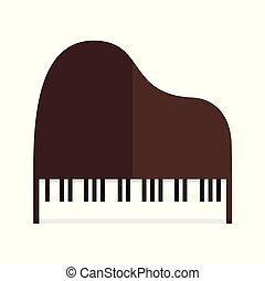 gráfico, simples, topo, ilustração, vetorial, piano grande, vista