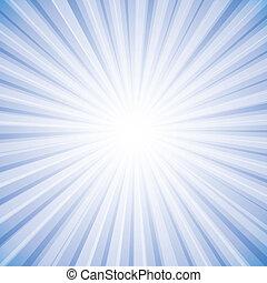 gráfico, sol, céu, raios, luminoso, vetorial, fundo, branca