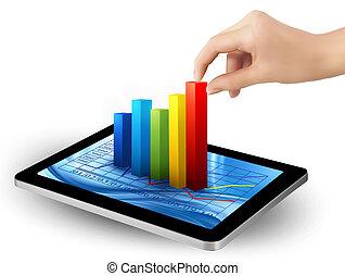 gráfico, tela, mão., vector., tabuleta