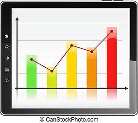 gráfico, tela, negócio, pc tabela