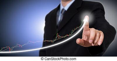 gráfico, tocar, crescimento, indicar, homem negócios